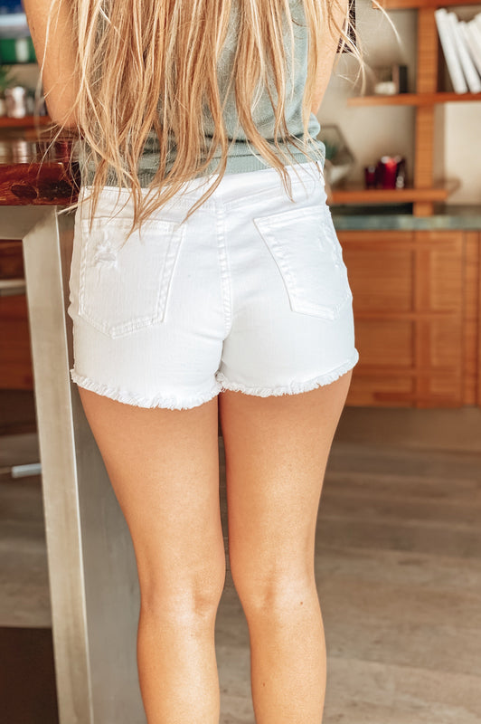 YOLO High Rise Button Down Shorts White