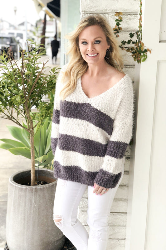 Loving You to the Max Grey Cream Stripe Sweater