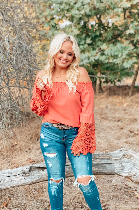 Pumpkin Spice Off the Shoulder Blouse