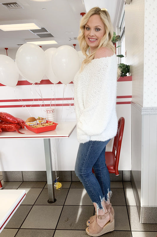 Soft, Sexy, and Cozy Date Ready Fuzzy Sweater White