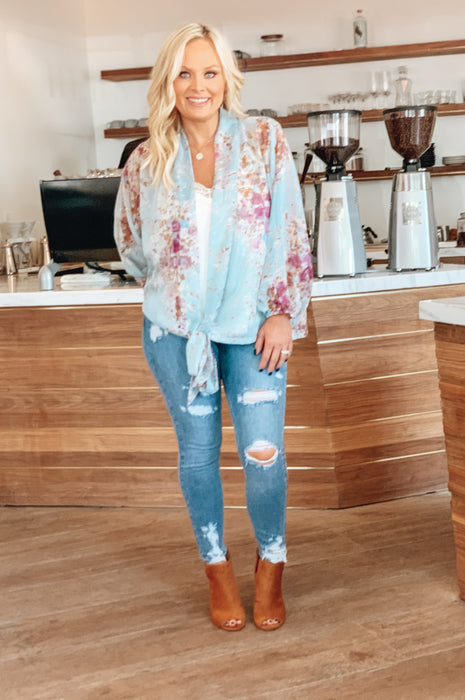 Floral Bouquet Blouse Chambray Teal