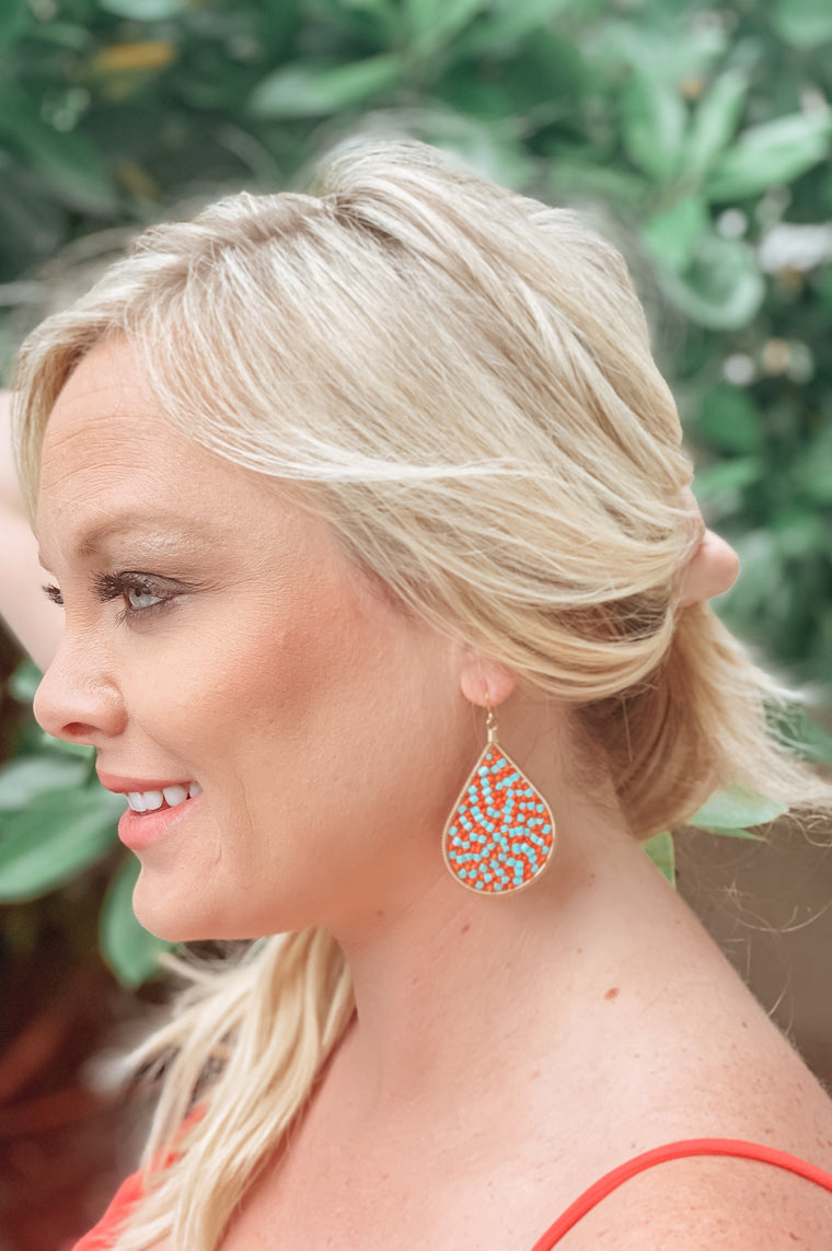 Happy Teardrop Earrings In Orange/Aqua