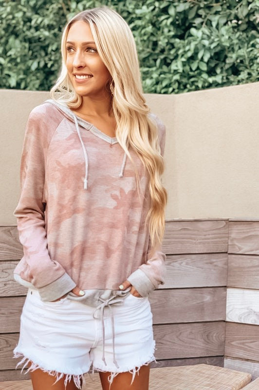 Babydoll Pink and Grey Camo Pullover
