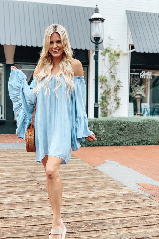 Ocean Breeze Blue Ruffle Tunic