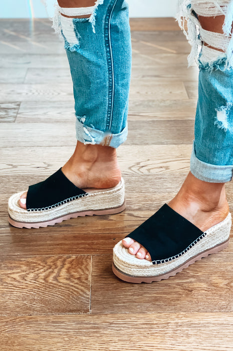 Happy Hour Suede Espadrille Wedges Black