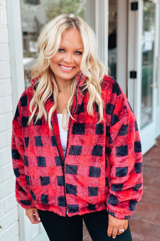 Mountain Time Buffalo Plaid Sherpa Jacket Red
