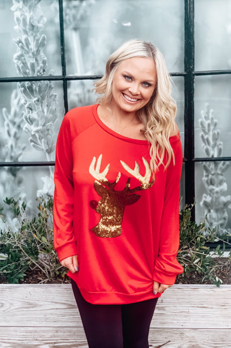 Holly Jolly Reindeer Tee Red