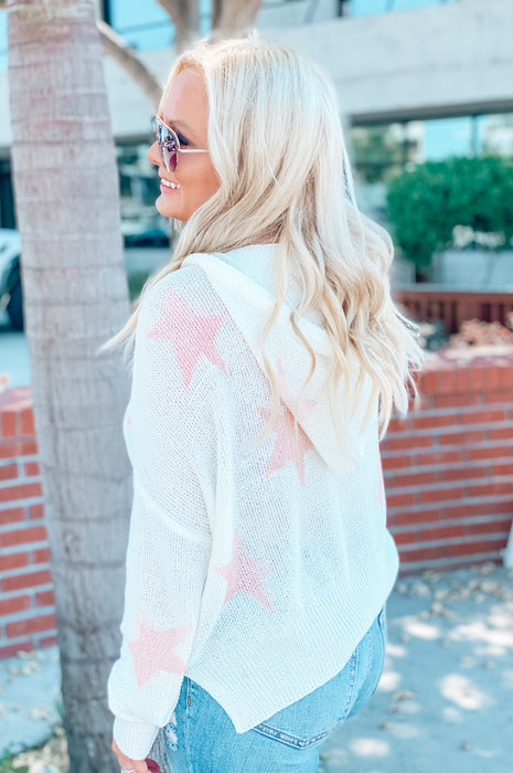 Starry Vibes Sweater White Pink