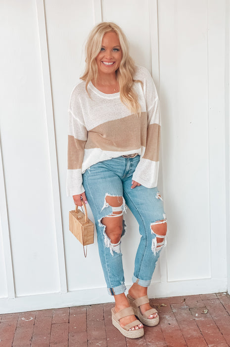 Sandy Beach Sweater Off White Taupe
