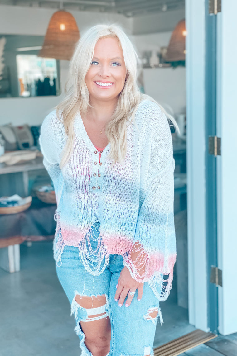 Hues of Blue Perfect Tie Dye Sweater White