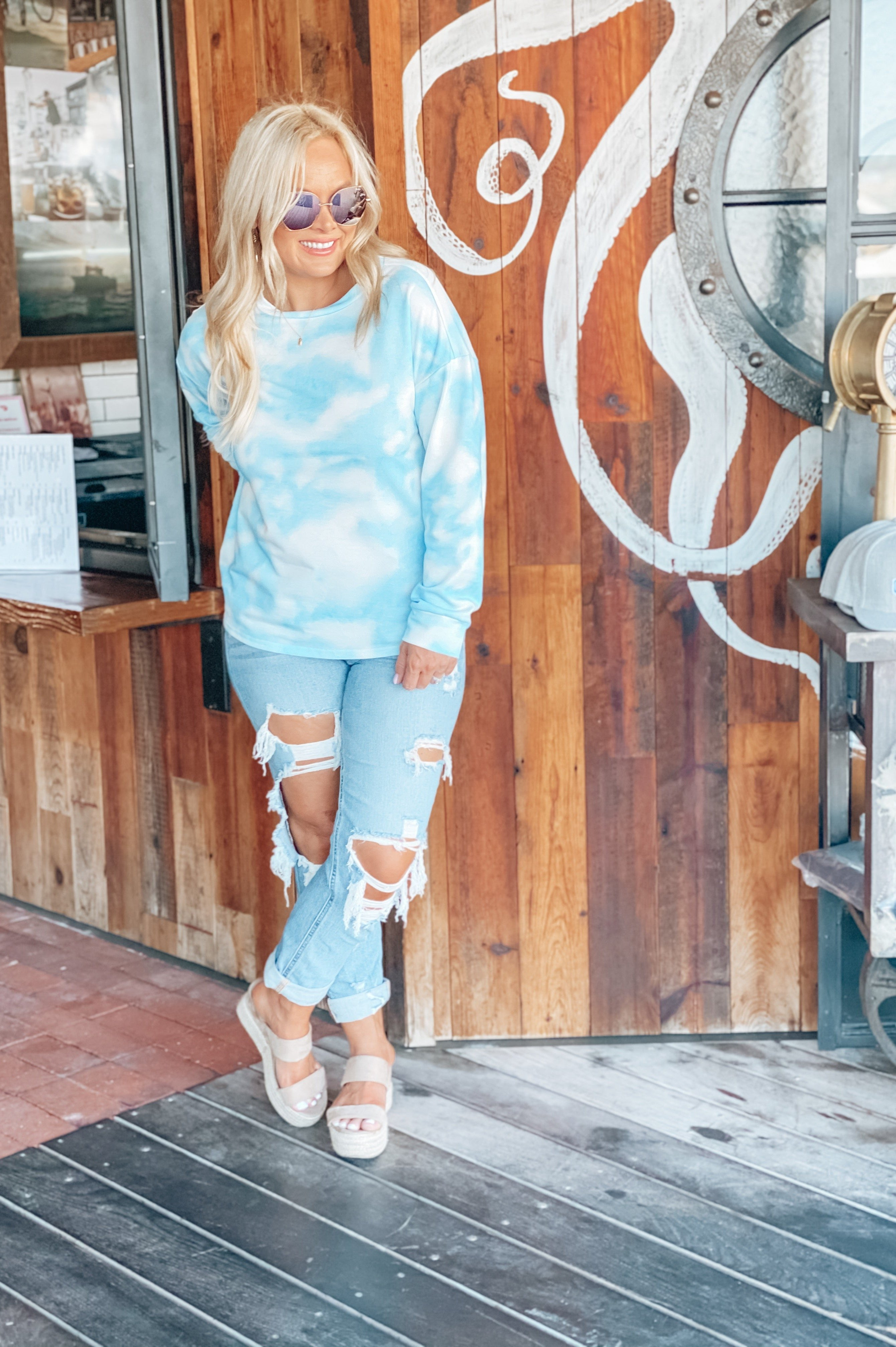 Summer Crush Tie Dye Pullover  Blue