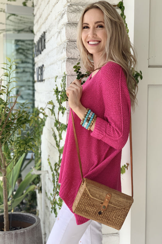 Malibu Sunsets Sweater in Hot Pink