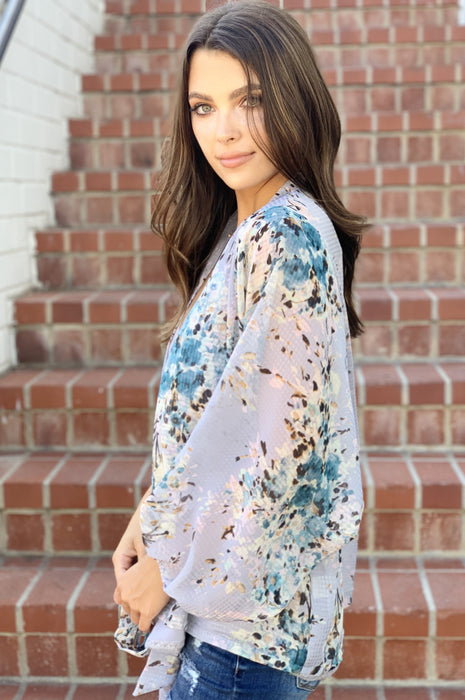 Floral Bouquet Blouse Chambray Lavender