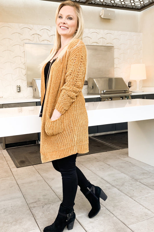 Movie Night Cardigan Mustard