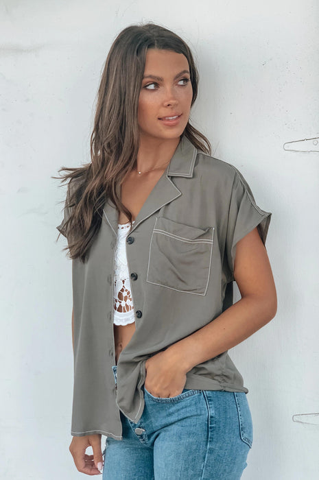 Winning Button Up Olive