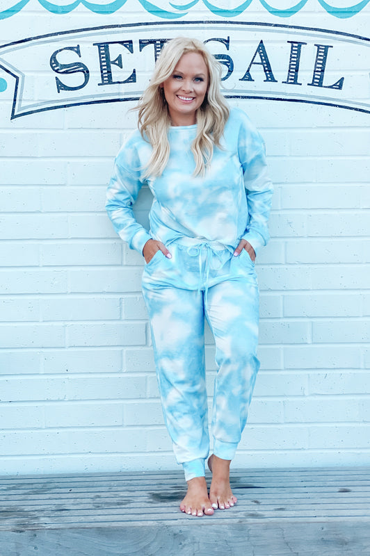 Crush on You Tie Dye Knit Joggers Blue
