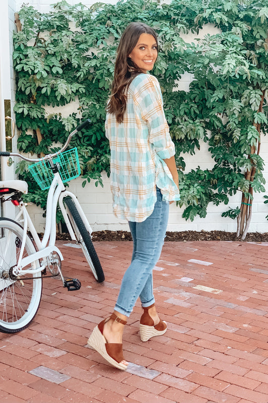 Enjoy The Ride Plaid Top Aqua