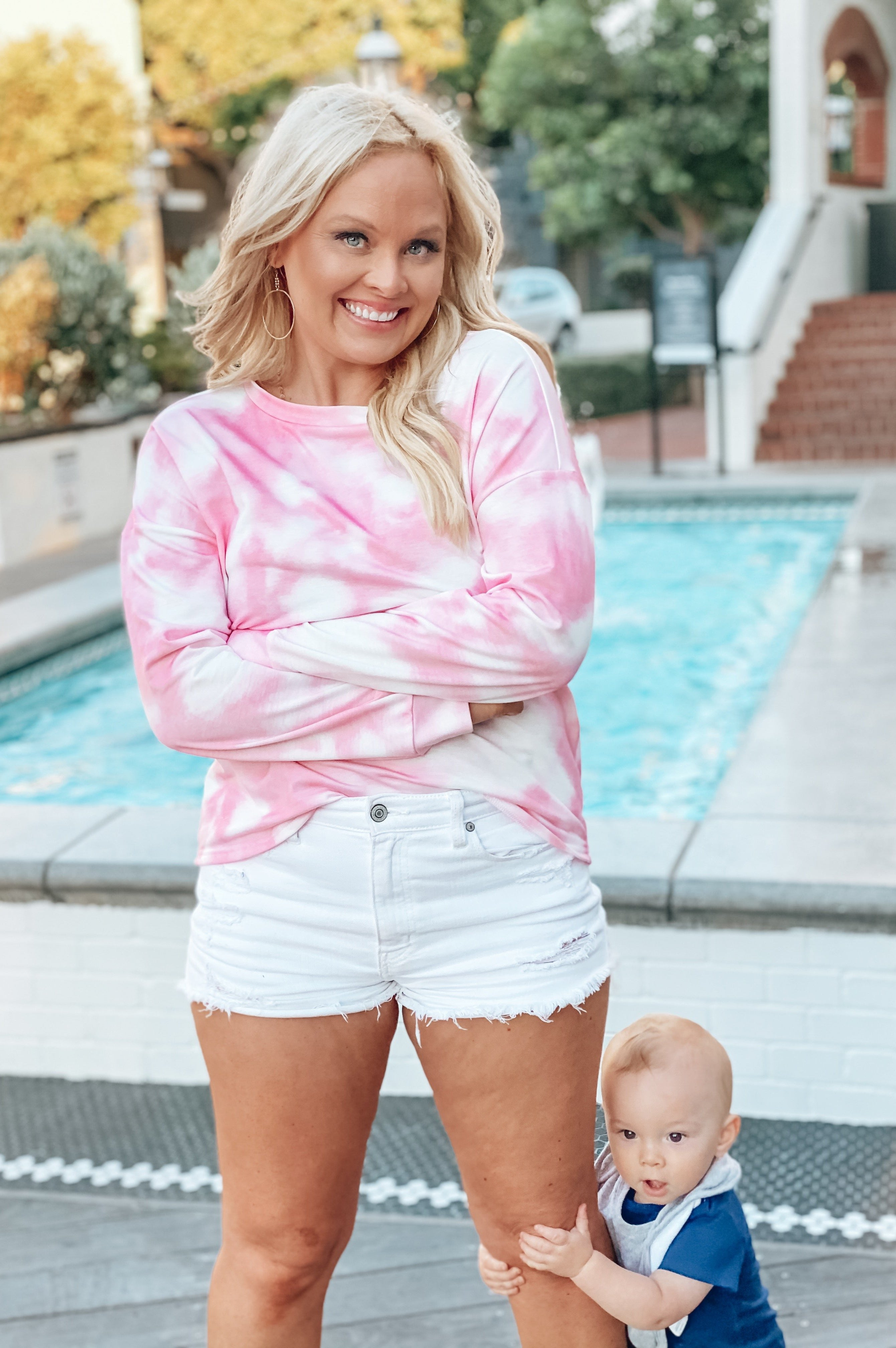 Crush on You Tie Dye Pullover  Pink