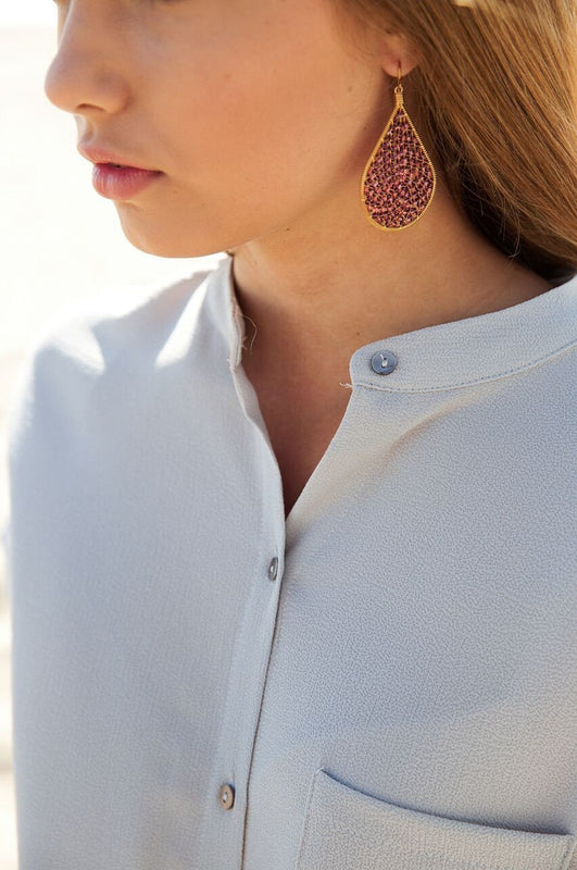 Happy Teardrop Earrings In Gold/Burgundy