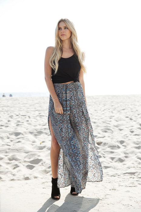 Stacey's Wrap Around Palazzo Pants In Black Print