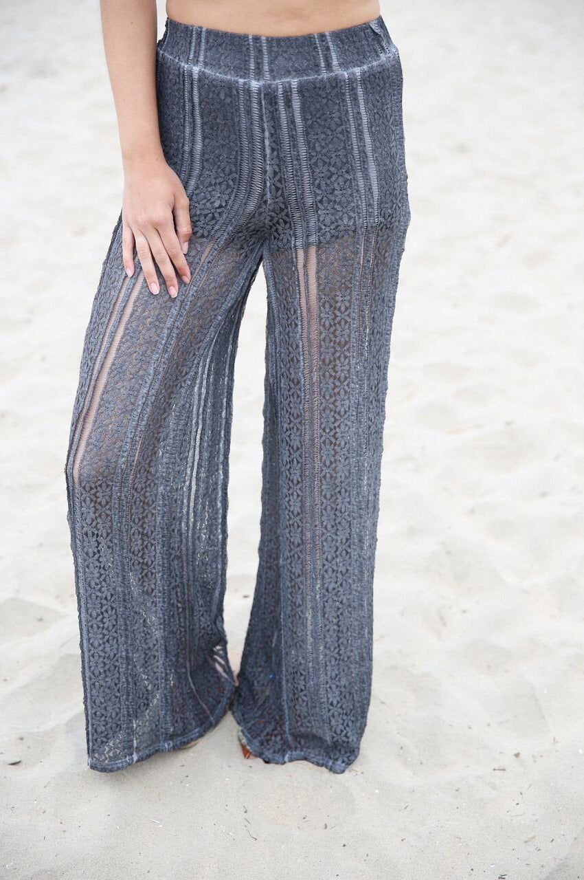 Tropical Vacation Lace Pants In Grey