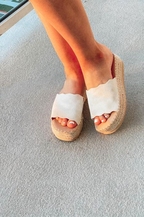 Beaches and Fun Times Wedges Cream