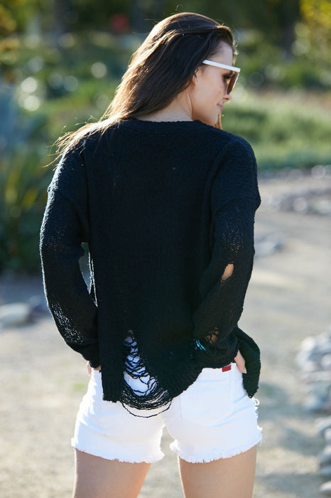 Lindy's Distressed Sweater Black