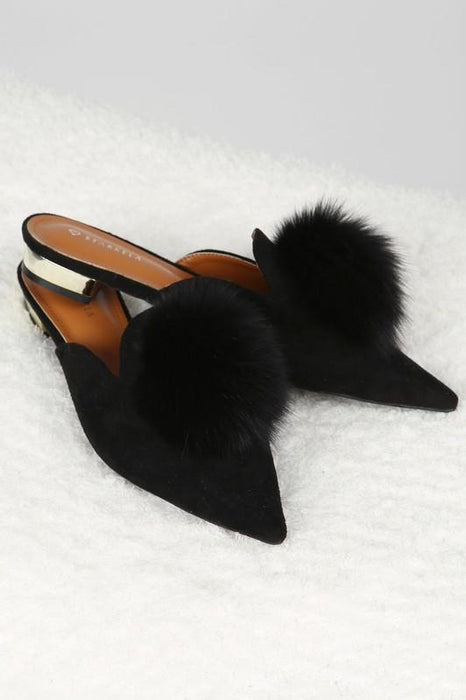 Puff Ball Princess Shoes Black