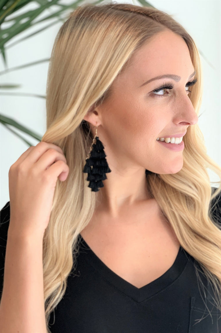 Tango Tassel Earrings Black