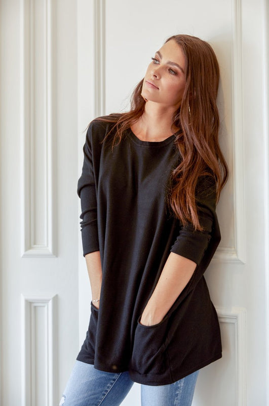 Falling In Love Two Pocket Sweater In Black
