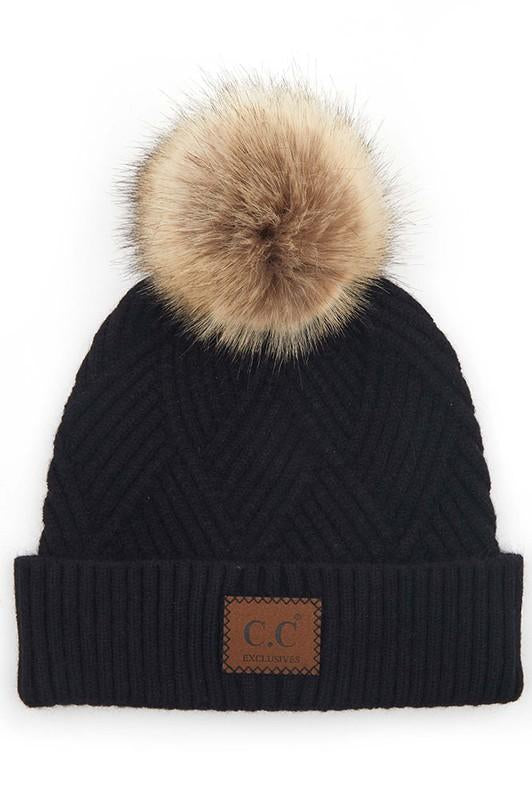 CC Beanie New Pom Pom Black