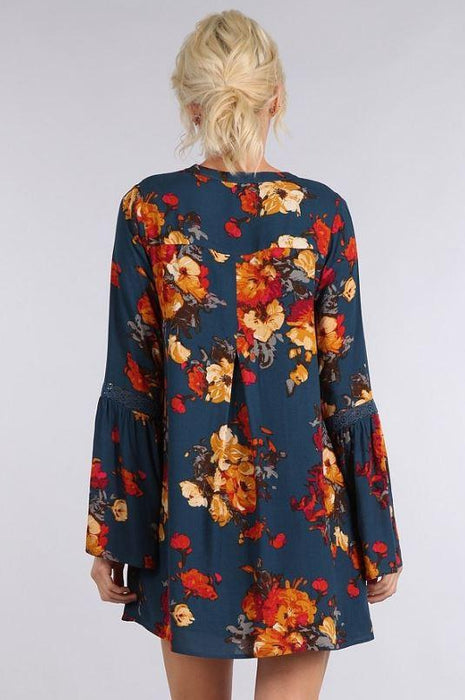 To Paris in Floral Dress Blue