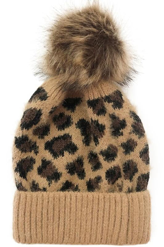 Cozy Up Fur Leopard Beanie Camel