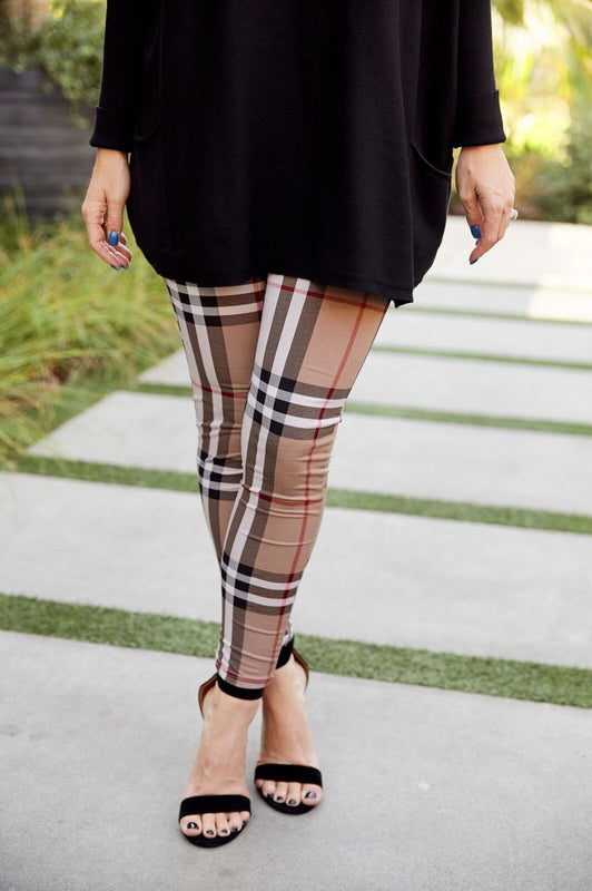 First Class to Milan Plaid Leggings Beige