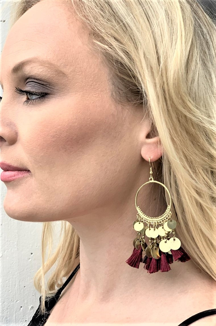 Napa Tour Burgundy Tassel Earrings