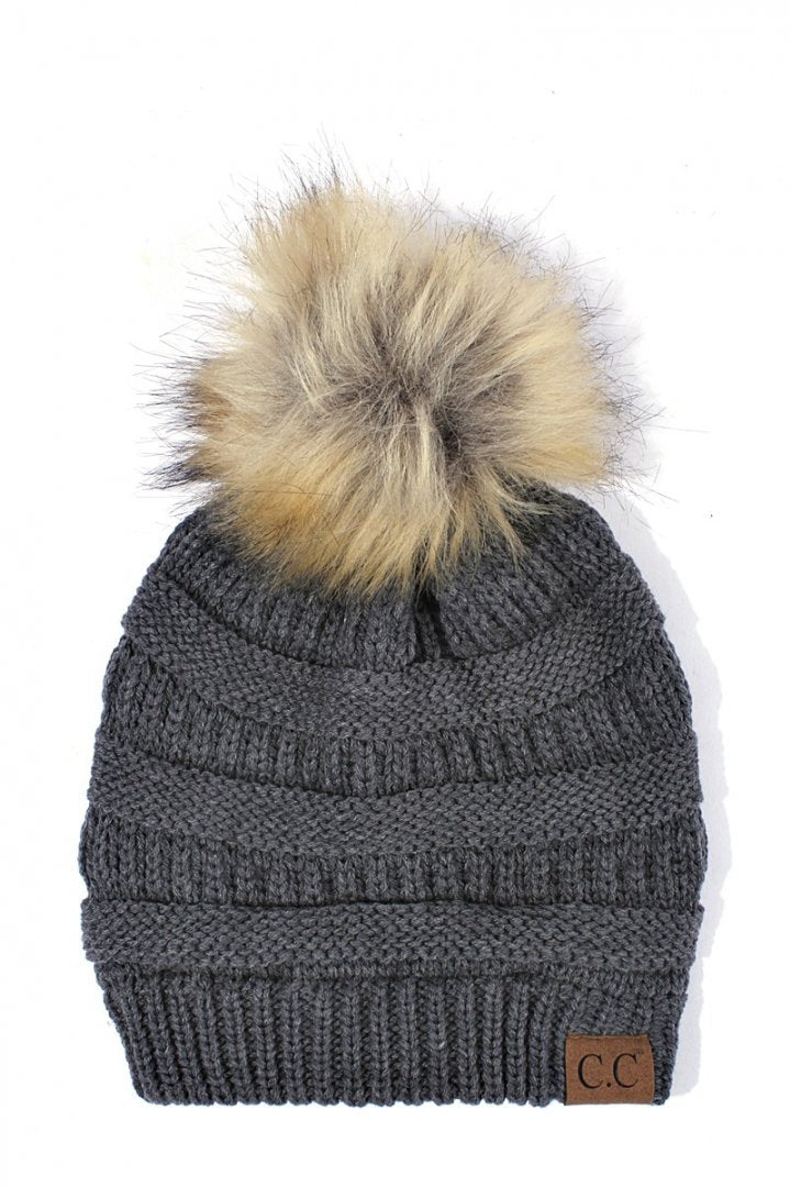 CC Beanie Charcoal with Fur Pom Pom