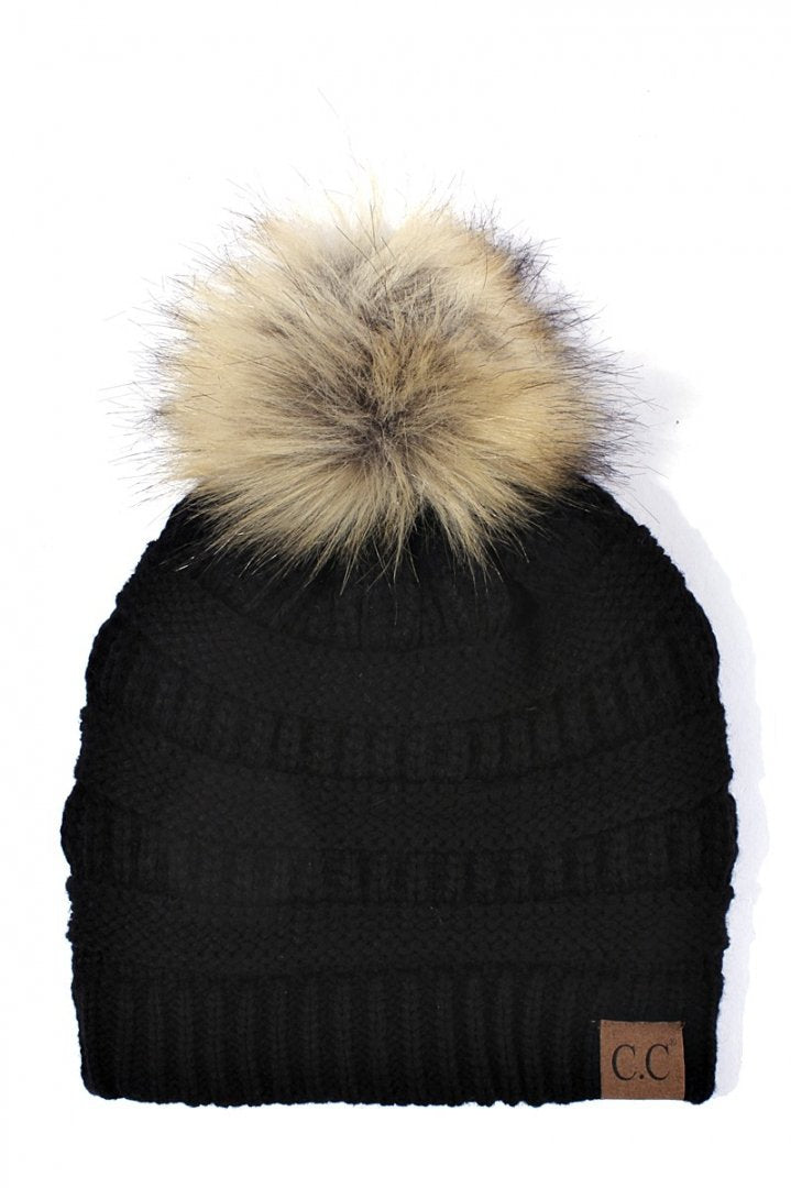 CC Beanie Black with Fur Pom Pom