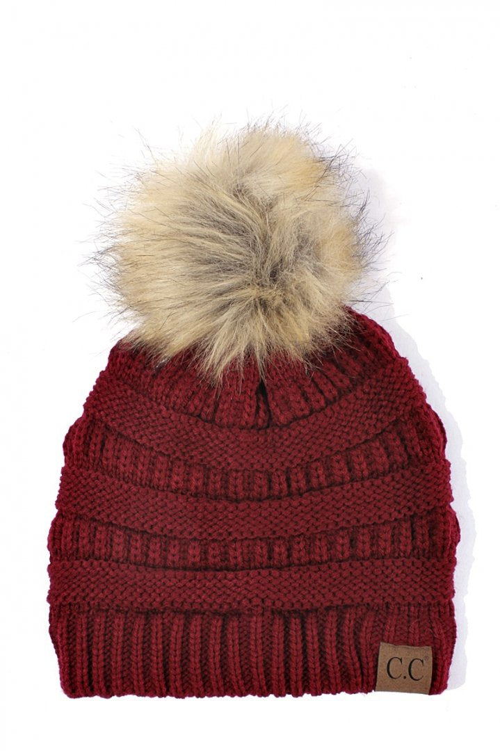 CC Beanie Burgundy with Fur Pom Pom