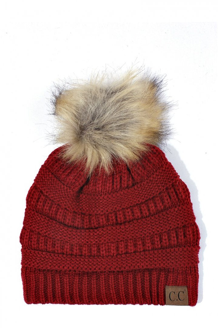 CC Beanie Red with Fur Pom Pom