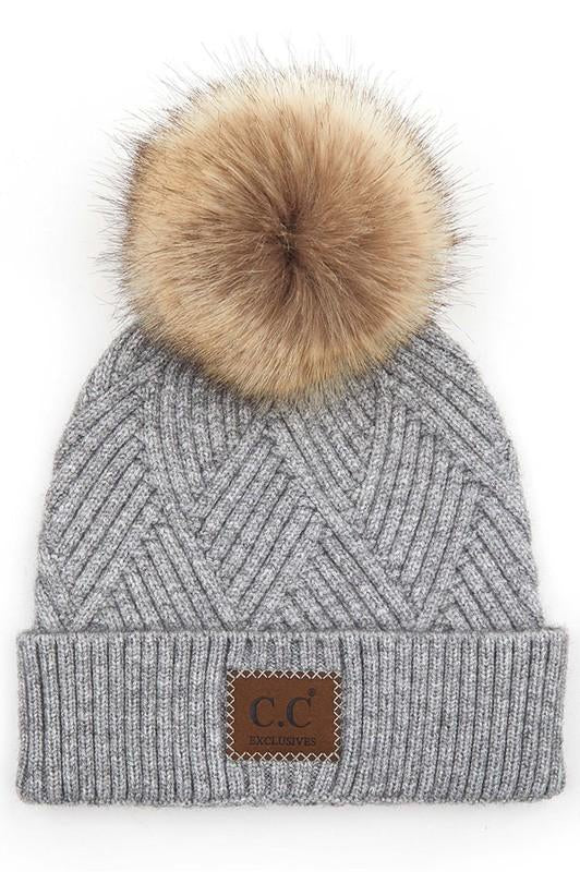 CC Beanie New Pom Pom Light Grey