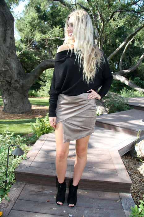 Cognac Nights Skirt in Khaki
