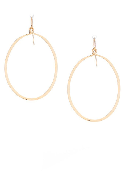 Oval Drop Earrings Hammered Silver or Gold
