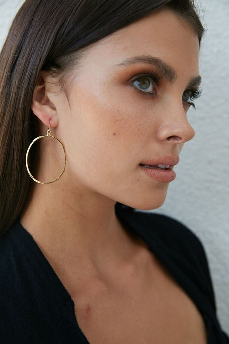 Oval Drop Earrings Hammered Silver or Gold 3 Sizes