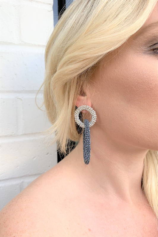 Vacay Loving Earrings Charcoal and Light Grey