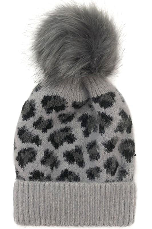 Cozy Up Fur Leopard Beanie Grey