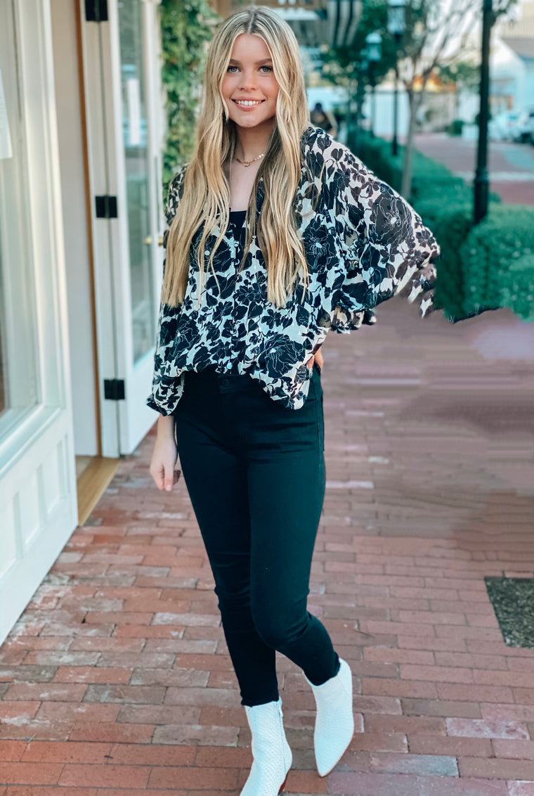 Boho Bouquet Blouse Black and White