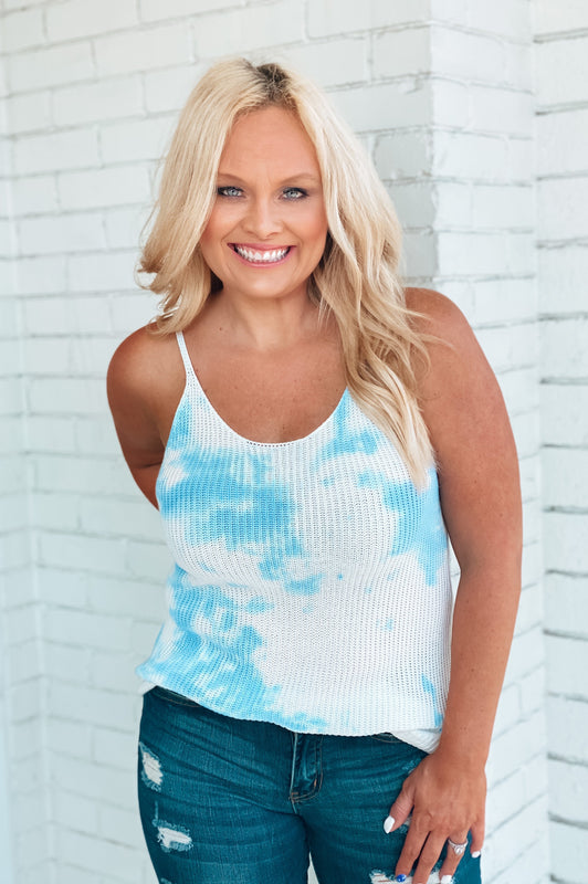 Blue Skies Tie Dye Tank Blue
