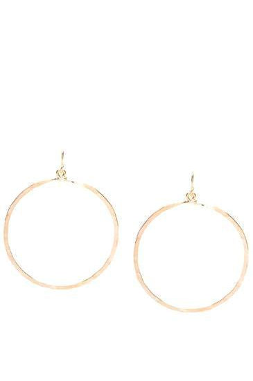 Hammered Hoops Large 14K Gold or Sterling Silver Plate