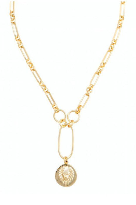 Zoe Lion Medallion Necklace 18k Plated