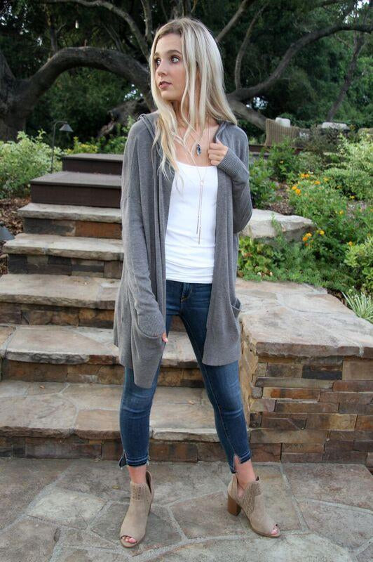 Nights At The Beach Hooded Cardigan Charcoal
